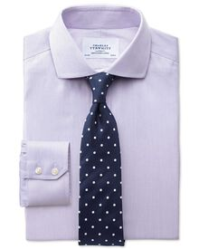 Extra slim fit cutaway collar non-iron mouline stripe lilac shirt