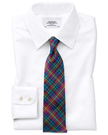 Slim fit forward point collar non-iron white twill shirt