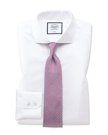 Slim fit cutaway collar non-iron twill white shirt