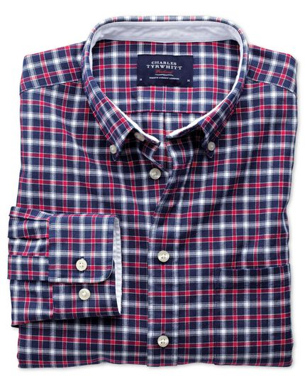 Classic fit blue and red check washed Oxford shirt
