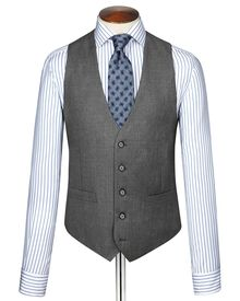 Mid grey twill business suit vest