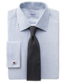 Extra Slim Fit Hemd aus beidseitiger Pima-Baumwolle in Marineblau