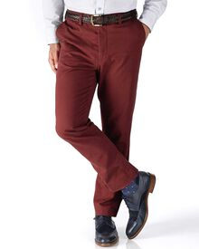 Red slim fit flat front chinos