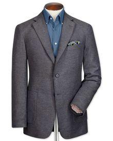 Veste grise slim fit en coton partiellement unie
