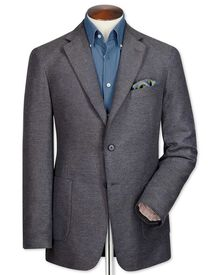 Slim Fit Faux-Uni Baumwoll Sakko in Grau
