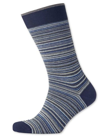 Blue multi fine stripe socks