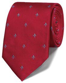 Red silk classic Fleur-de-Lys tie