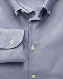 Extra slim fit button-down collar non-iron business casual navy shirt