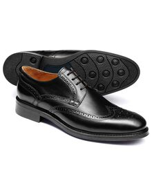 Black Halton wing tip brogue Derby shoes