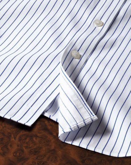 Slim fit cutaway collar non iron stripe white and navy shirt