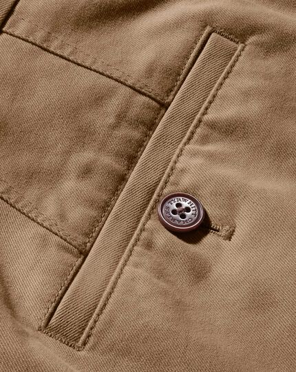 Tan extra slim fit flat front chinos