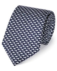 Navy and white silk classic fish printed tie