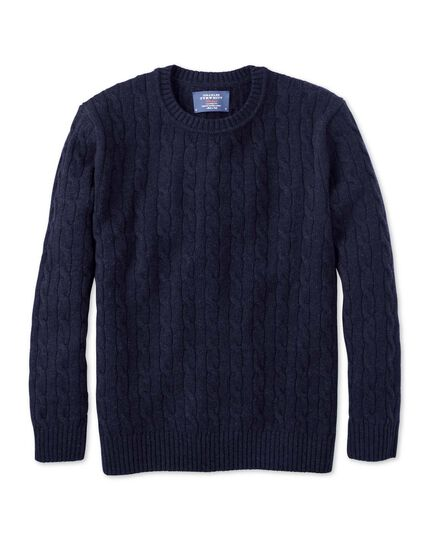 Navy lambswool cable knit crew neck jumper