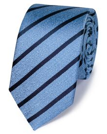 Sky silk slim textured stripe classic tie