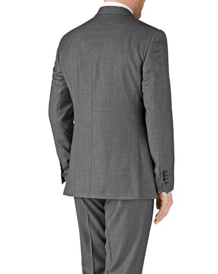 Grey classic fit birdseye travel suit jacket