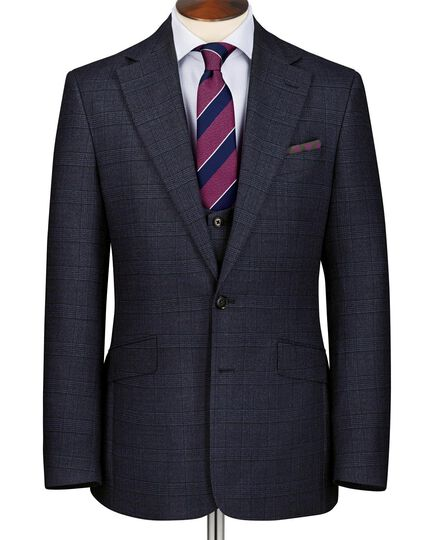 Navy slim fit check suit jacket