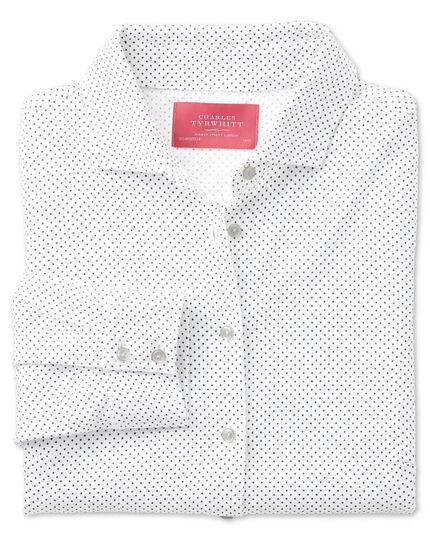White pindot print jersey shirt