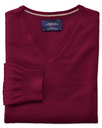 Dark red merino wool v-neck jumper