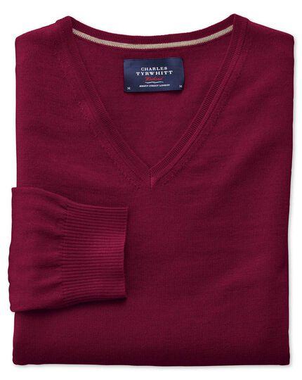 Dark red merino wool v-neck jumper