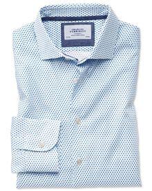 Classic fit semi-cutaway business casual diamond print white and blue shirt