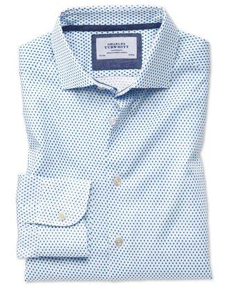 Classic Fit Business-Casual Hemd mit Semi-Haifischkragen in Weiß und Blau mit Diamant-Print