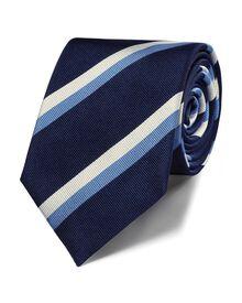 Navy silk classic stripe tie