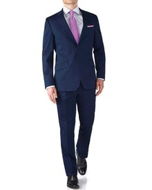 Navy slim fit Italian cotton business suit