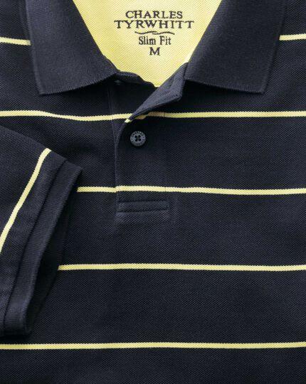 Slim fit navy striped pique polo