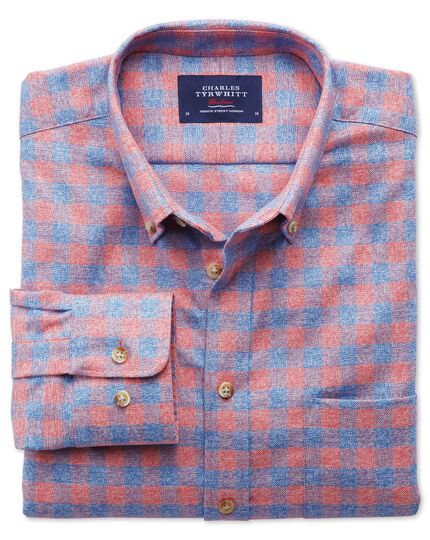 Classic fit non-iron gingham coral and blue shirt