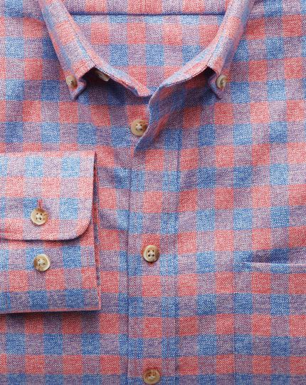 Slim fit non-iron gingham coral and blue shirt
