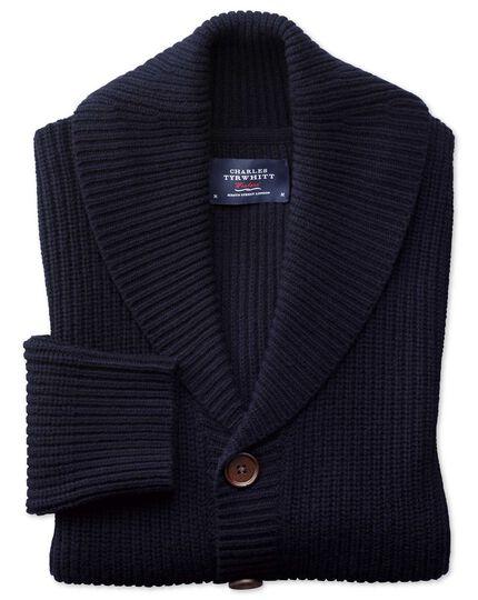 Navy rib shawl collar cardigan