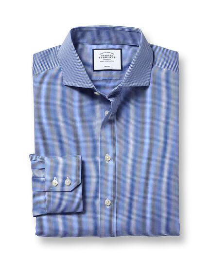 Slim fit spread collar non iron puppytooth royal blue shirt