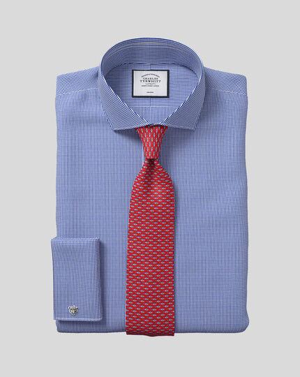Slim fit spread collar non iron puppytooth royal blue shirt