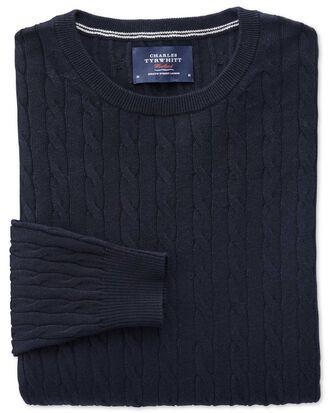 Navy cotton cashmere cable crew neck jumper