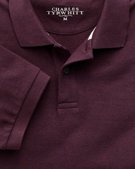 Dark red pique polo