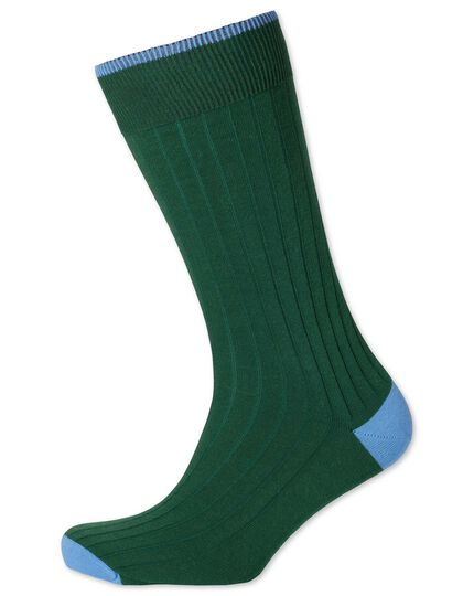 Dark green ribbed cotton rich socks