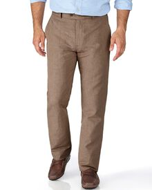 Brown slim fit cotton linen trousers