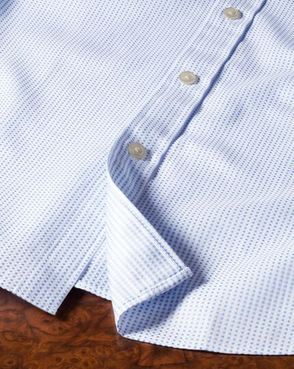 Slim fit Pima cotton double-faced sky blue shirt