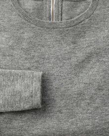 Light grey merino cashmere zip back sweater