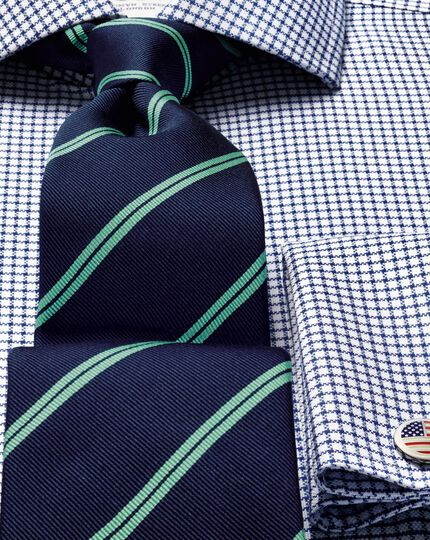 Navy and green silk classic double stripe tie