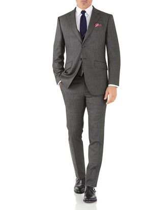 Silver slim fit flannel business suit