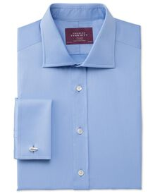 Classic fit semi-spread collar luxury twill sky shirt