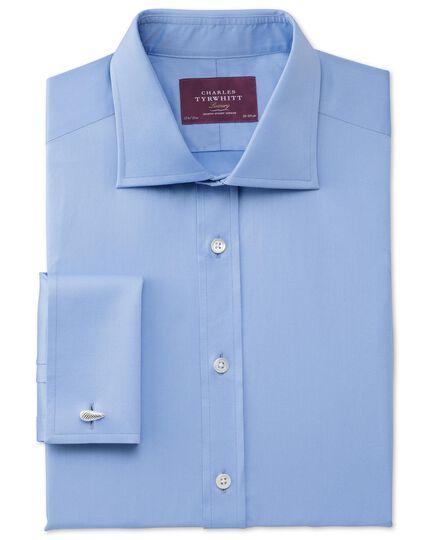 Classic fit semi-cutaway collar luxury twill sky blue shirt