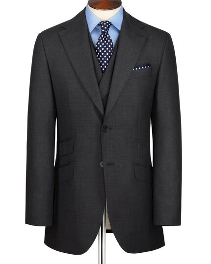 Charcoal slim fit British Panama luxury suit jacket