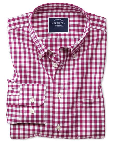 Slim fit non-iron poplin red check shirt