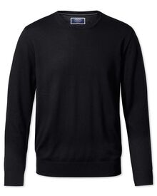 Black merino wool crew neck jumper