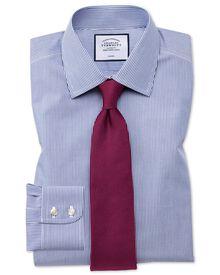 Extra slim fit non-iron Bengal stripe navy blue shirt