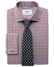 Extra slim fit Prince of Wales berry shirt