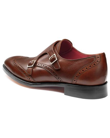 Brown Edmonton calf leather toe cap brogue monk shoes
