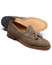 Beige Keybridge suede tassel loafers